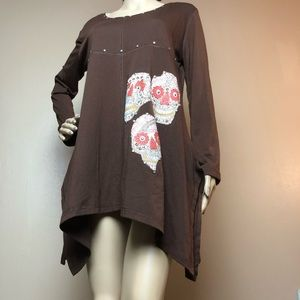 Pretty Angel Brown Flowy Top Skulls Tunic Blouse